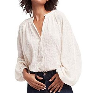 Free People Down From The Clouds White Top Sz XS